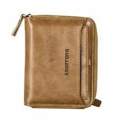 Men Men's Leather Bifold Credit ID Card Holder Wallet w Zipper Coin Pocket Purse $9.98