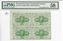 10 Cents 1st Issue Fractional Currency Fr.1242 Straight Edges Pmg 58 Choice Au
