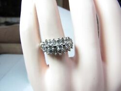 Vintage 14k Solid White Gold Ring W / 23 Round Natural Diamonds 1.00 Cts T.w.