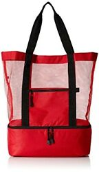 Travelwell Fashionable Beach Picnic 12 Cans Outdoor Mesh Cooler Tote Bag Red $29.45