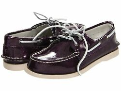 Sperry Girls Shoes TopsiderBoat Shoes Plum Patent  NEW Shoes  Size 13 12 SALE!
