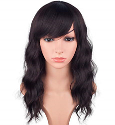 Medium Long Wavy Wigs For Black Women Black Mix Brown Synthetic Wigs With Bangs