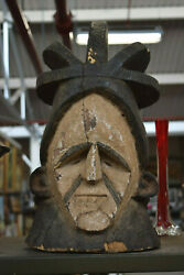 Vintage Antique Hand Carved Wooden Tribal Head Bust Statue Alaskan Mexican