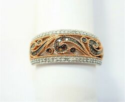 10kt Rose Gold Diamond Band 1/5th Cttw Of Rose And White Diamonds