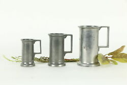 Set Of 3 Antique French Pewter Deci Litre Tankard Mugs Stamps A4 33415