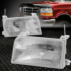 FOR 92 98 FORD F 150 F 250 F 350 BRONCO CHROME HOUSING CRYSTAL LENS HEADLIGHTS $36.99