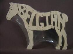 Belgian Draft Horse Wooden Tack Room Puzzle Toy New Figurine Art