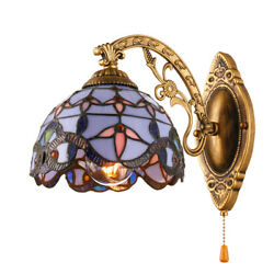 Baroque Blue Stained Glass Style Wall Sconce Indoor Wall Light Fixture