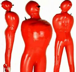 Latex Catsuit Bodysuit Heavy Sleep Sack Valves Inflatable Mouth Tube Sexy 0.6mm