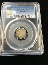1884 Near 4 Pcgs Graded Canadian Small Silver Five Cent Au-53