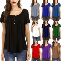 Womens Short Sleeve Pleated Solid Blouses T Shirts Plus Size Casual Loose Tops B