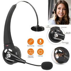 Wireless Bluetooth Headset Noise Cancelling Over the Head Boom w Mic For Trucker $16.98