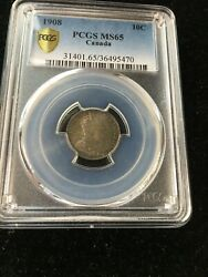 1908 Pcgs Graded Canadian 10 Cent Ms-65