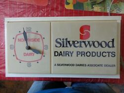Vintage Silverwood Dairy Products Light Up Advertising Clock Sign