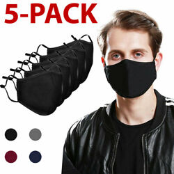 5 PCS Washable Face Mask Black Reusable Breathable Unisex Double Layer Cotton