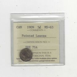 1909 Pointed Leaves Iccs Graded Canadian Andcent5 Cent Ms-63