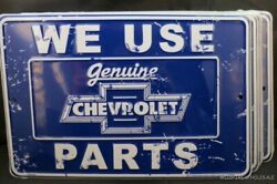 Lot Of 2 Chevrolet Signs Metal Tin We Use Chevy Parts Gm Made In Usa Car Auto