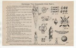1890s Advertising Flier Christmas Ornaments And Mechanical Toys Hale Bros Sf Ca