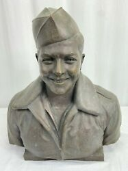 Vintage Wwii Usaaf Kia Enlisted Aircrewman Named Large Bronze Bust