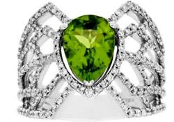 Large 2.74ct Diamond And Aaa Peridot 14kt White Gold 3d Pear Shape Spider Web Ring