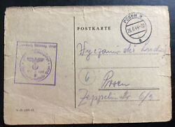 1944 Germany Posen Concentration Camp Postcard Cover Locally Used Wyszomirski