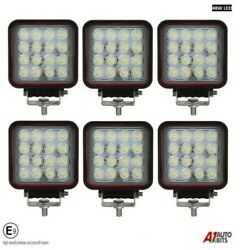 6x Professional Square 48w Led Work Lights Lamp Flood Beam Digger Tractor Digger
