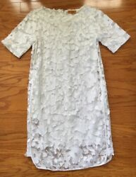 Roberta Freymann White Tulle Lined Floral Patch Dress XS