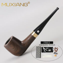 Muxiang Billiard Tobacco Pipe Ebony Wood Smoking Pipe With Accessorie 9mm Filter