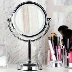 Round Magnifying LED Lighted Vanity Mirror Make Up Cosmetic Bathroom Shaving USA