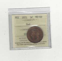 1871 Iccs Graded Edward Island Large Andcent1 One Cent Ms-66