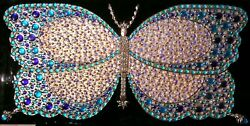 Acrylic Painting Butterfly Embellished With Stones Glass On Silver Leaves