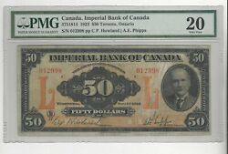 1923 Imperial Bank Of Canada 50 / Cat3751814 Sn012998 Pmg Vf-20