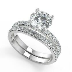 2.25 Ct Round Cut Classic Pave 4 Prong Diamond Engagement Ring Set Si1 F 14k