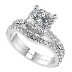 2.2 Ct Cushion Cut Micro French Pave Classic Diamond Engagement Ring Set Si2 F