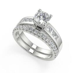 2.15 Ct Round Cut Four Prong Channel Set Diamond Engagement Ring Set Si2 H 14k