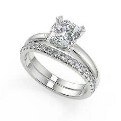 2.6 Ct Cushion Cut Four Prong Solitaire Diamond Engagement Ring Set Si2 H 14k