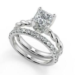 1.5 Ct Princess Cut Twisted Rope Solitaire Diamond Engagement Ring Set Vs2 D 14k