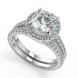 2.35 Ct Round Cut Classic Halo Pave Diamond Engagement Ring Set Si2 D White Gold