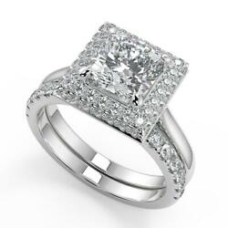 2.35 Ct Cushion Cut Micro Pave Halo Diamond Engagement Ring Set Si1 D White Gold