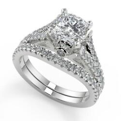 2.35 Ct Cushion Cut Pave Cathedral 4 Prong Diamond Engagement Ring Set Si2 H 18k