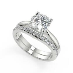 1.5 Ct Round Cut Squared 4 Claw Solitaire Diamond Engagement Ring Set Si1 D 18k
