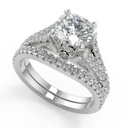 2.25 Ct Round Cut Pave Cathedral 4 Prong Diamond Engagement Ring Set Vs2 F 18k