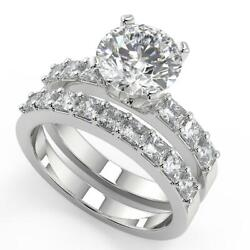 2.5 Ct Round Cut Shared Prong Assher Accents Diamond Engagement Ring Set Si2 D