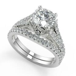 2.35 Ct Round Cut Pave Cathedral 4 Prong Diamond Engagement Ring Set Si2 D 14k