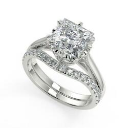 1.6 Ct Princess Cut 6 Claw Crown Solitaire Diamond Engagement Ring Set Si2 H 14k