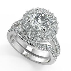 2.2 Ct Round Cut Double Halo Pave Diamond Engagement Ring Set Vs1 G White Gold