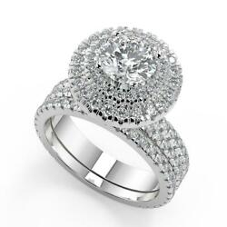 2.55 Ct Round Cut Double Halo Pave Gala Diamond Engagement Ring Set Si2 D 18k