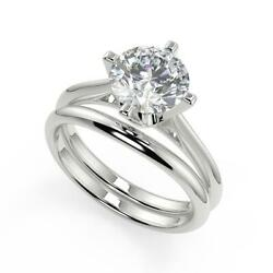 0.75 Ct Round Cut 4 Prong Solitaire Diamond Engagement Ring Set Vs1 F White Gold