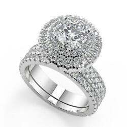 3.05 Ct Round Cut Double Halo Pave Gala Diamond Engagement Ring Set Si1 D 14k