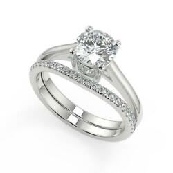 1.5 Ct Round Cut Four Prong Diamond Engagement Ring Set Si1 D White Gold 18k